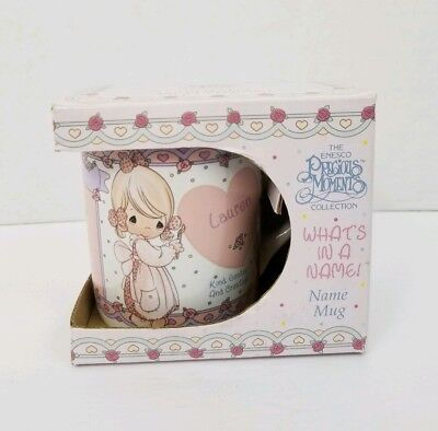 Precious Moments Collection What's In A Name Mug Lauren 1994 New In Box Enesco