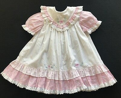 VTG Tawil Toddler Embroidered Floral Bib Ruffle Dress Eyelet cotton Poly 4T