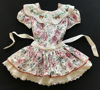 Vintage Rose Floral embroidered Strawberry Ruffle Full Dress Frilly Sz 5