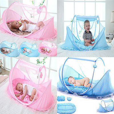 Foldable Infant Baby Mosquito Net Travel Cot Tent Mattress Cradle Bed Pillow Set