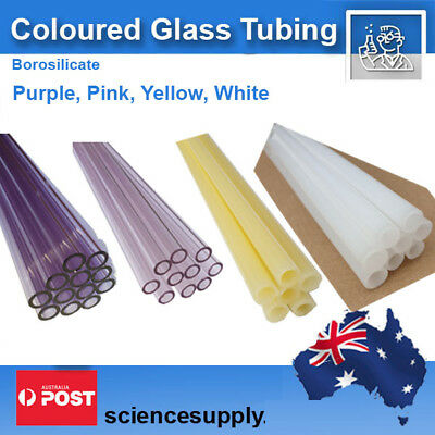 Coloured Glass Tubing  10mm  1.5mm wall borosilicate pink purple yellow white