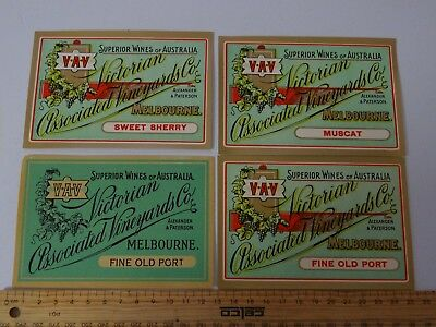 4 x VINTAGE VICTORIAN ASSOCIATED VINYARDS  WINE LABELS
