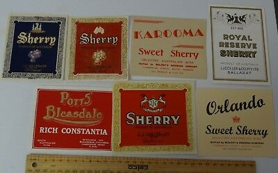 7 x VINTAGE SHERRY FORTIFIED WINE COLLECTABLE LABELS