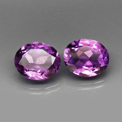 Oval 12x10 mm.PAIR! Real 100%Natural Amethyst Bolivia None Treatment 7.79Ct.