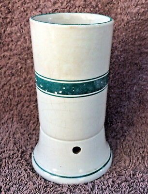 Vintage Tooth Brush Holder - White Porcelain with Green Bands - Country Bathroom
