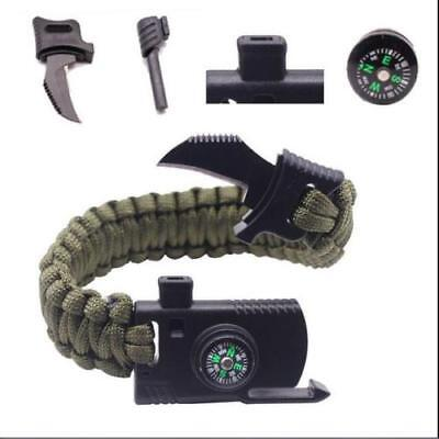 Survival Bracelet Paracord Knife Whistle Magnesium Fire Starter Compass Kits New