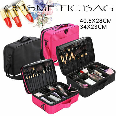 Professional Makeup Bag Portable Cosmetic Case Storage Box Travel Black/Rose Red