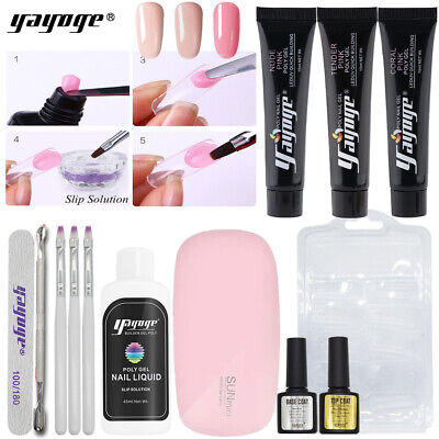 US Shipping 12pcs Hard Gel Quick Polygel Set Nail Extension Kits UV LED Gel