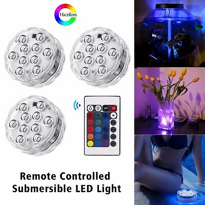4x Underwater Submersible Color Changing LED RGB Lights Decor + 2 Remote Control