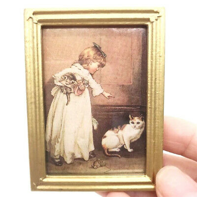 1:12 Dollhouse Miniature Furniture Room Oil Painting Girl With Cat Gold Frame