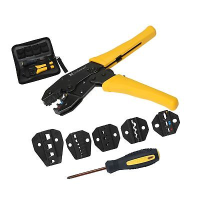 Voilamart Crimping Tool Kit Terminal Ratchet Plier Crimper 5 Interchangeable ...