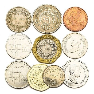 10 Coins From Jordan Old Collectible Coins Middle East Qirsh Piastres Dinar