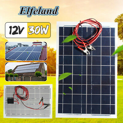 30W Watt 12V Semi Flexible Solar Panel Battery Charger Off Grid Home Garden