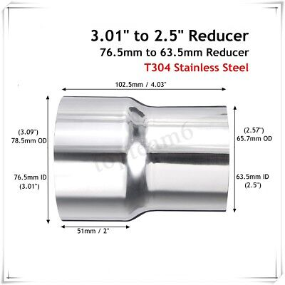 3'' to 2.5'' Inch Stainless Standard Exhaust Reducer Connector Adapter Pipe Tube