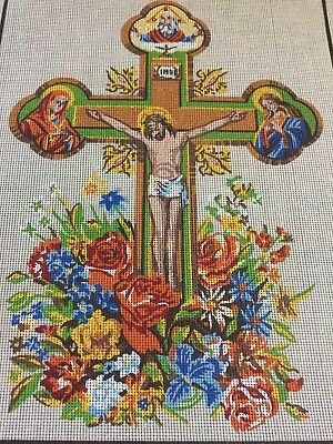 VINTAGE Unworked ETOILE PARIS TAPESTRY CANVAS Crucifix RELIGIOUS Jesus CATHOLIC