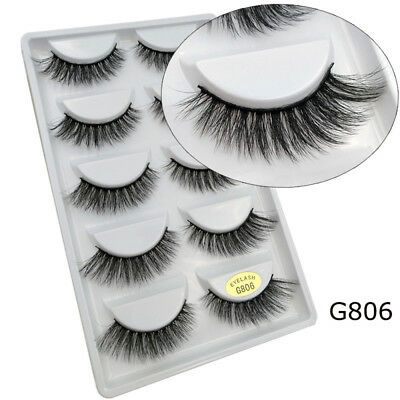 SKONHED 5 Pairs 3D Vison Cheveux Faux Cils Wispy Cross Long Cils Maquillage Hot
