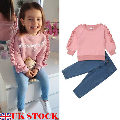 UK 2pcs Toddler Kids Baby Girl T-shirt Top+Denim Pant Jeans Outfits Clothes 1-6Y