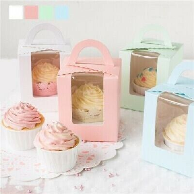 Single Cupcake Muffin Fairy Cake Boxes Clear Window Gift Box Healthy 5-50PCS