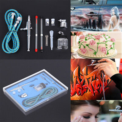 Dual Action Airbrush 0.2/0.3/0.5mm Air Compressor Kit Craft Paint Art Spray Gun