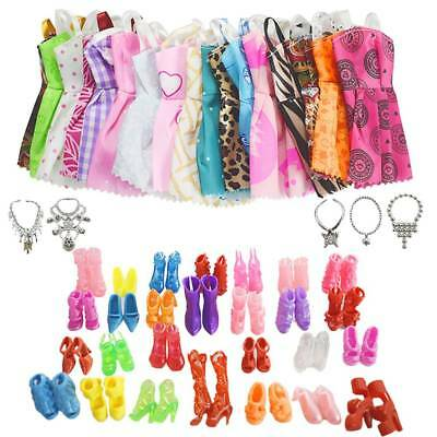 30 Pcs Dolls Set Pieces Barbie Doll Dresses Shoes & Hangers Clothes Set