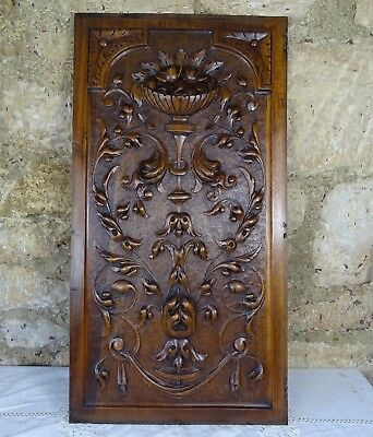 French Antique Highly Carved Architectural Panel Solid Walnut Wood- Renaissance
