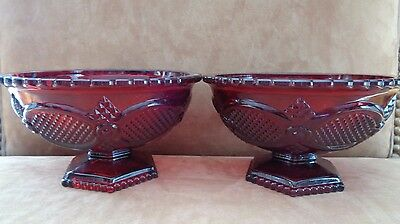 Avon Ruby Red Cape Cod 1876 Collection Set of 2 Small Candy Dish Pedestal Bowls