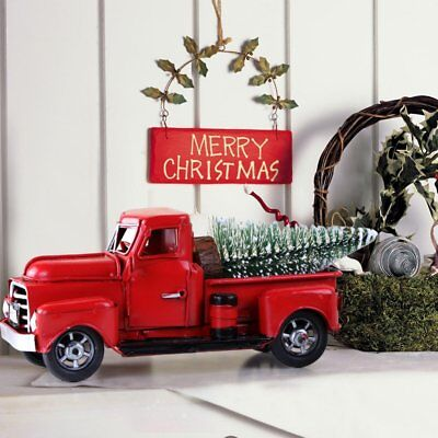 Vintage Red Metal Truck Christmas Ornament Kids Xmas Gifts Toy Table Top Decor
