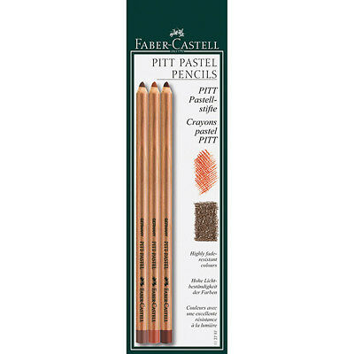 Faber-Castell - Pitt Pastel Pencils 3, Sanguine, Sepia Light, Sepia Dark