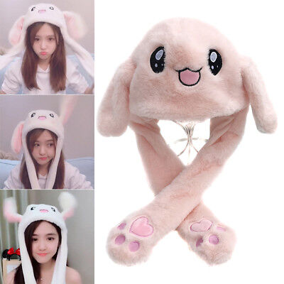 Rabbit Hat with MAGIC Moving ears Press foot to make Ears Pop Up Kids Winter