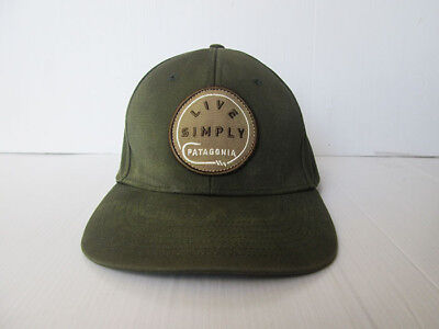 Patagonia LIVE SIMPLY Fishing Olive green Hat Cap Fishing line Hook Fly b4f174fb3716