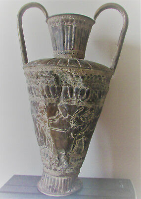 Very Nice Ancient Persian Hand Beaten Silver Vessel With Handles And Scenes