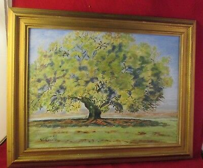 framed art OLD OAK IN SPRING Signed Oil canvas Painting Vintage antique V SMITH?