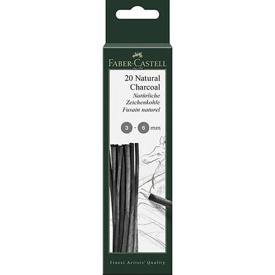 Faber-Castell - Pitt Natural Charcoal Sticks Blistercard, 3-6Mm Dia - Pack 20