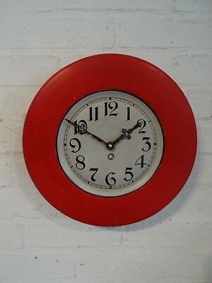 1930's Red French Tin Clock Bars Bistros Vintage Arabic Numerals
