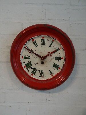 French 1930's Red Tin Tole Clock Vintage Decorative Shabby Chic