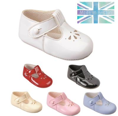 Baby Pram Shoes - Boys & Girls, Baypods, Soft Sole, Petal Punch T-Bar, UK 0-3
