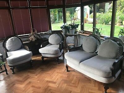 Lovely Bergere Lounge Suite, Mahogany And Cane.