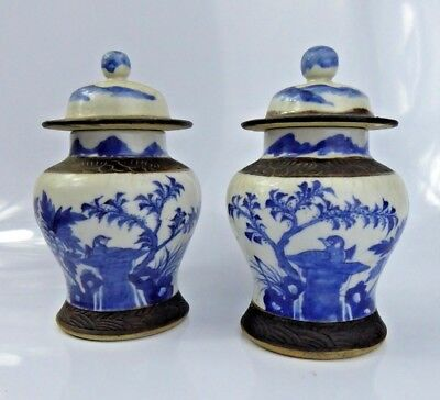 Chinese Antique Blue & White Pair Crackle glaze Porcelain Jars Vases Covers Qing