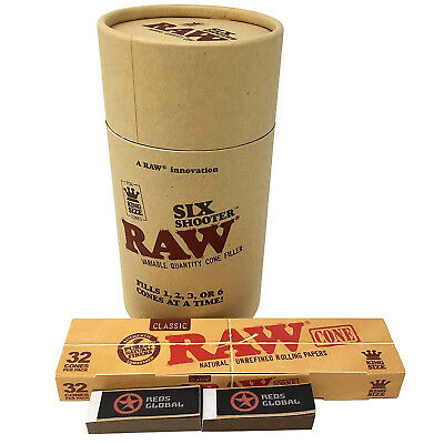 RAW Six Shooter with King Size RAW Cones