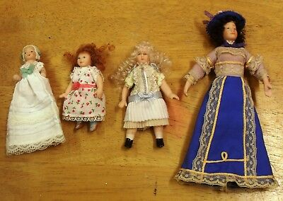 Dolls House Victorian Lady two girls & Baby.  Porcelain heads
