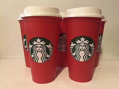 5 Starbucks 2018 Red Reusable 16oz Traveler Drinking Cups with DRINK DISCOUNT