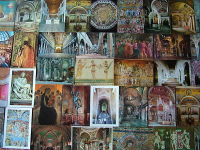 100 Postcards of INTERIORS & ART WORKS of ITALY. Unused, Good condition.