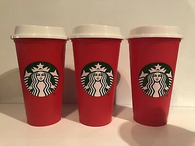 3 Pack of 2018 Starbucks Holliday Red Reusable Travel Cup - (Grande 16 Oz)