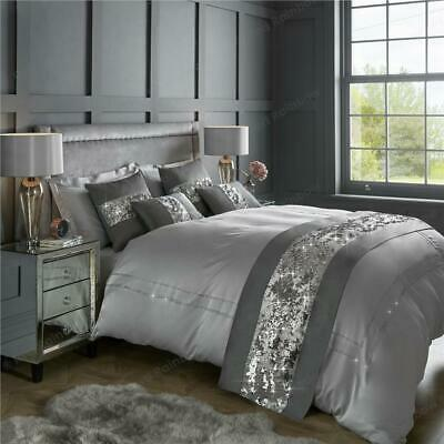 Bed Runner & Cushion Cover Sparkle Set Silver / Grey Mermaid Sequin & Faux Silk