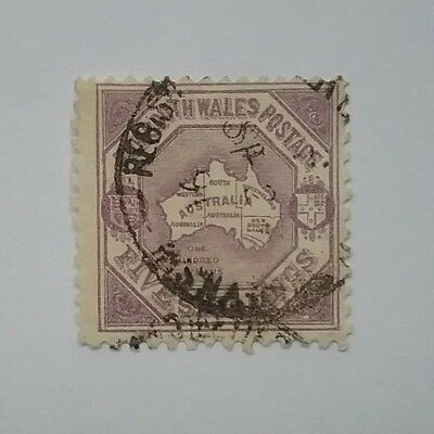 New South Wales 5/- shilling map used