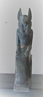 Ancient Egyptian Style Statuette Of Anubis W/heiroglyphs