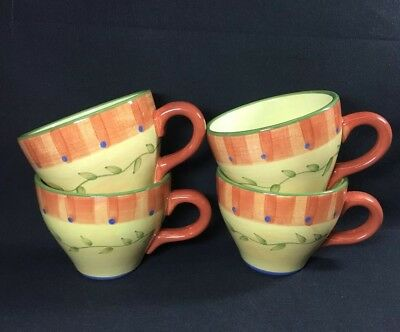 Set Of 4 Pfaltzgraff Napoli Coffee Mugs Cups Wide Mouth Handpainted 3 5