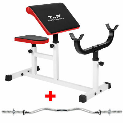 Preacher Curl Weight Bench 4 Bicep Arm Adjustable Workout + Barbell EZ Curl Bar