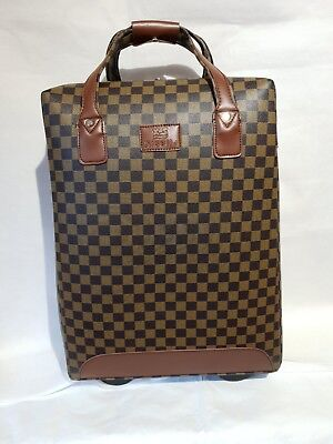 Designer Inspired Brown Check Pull A Long Holdall Case