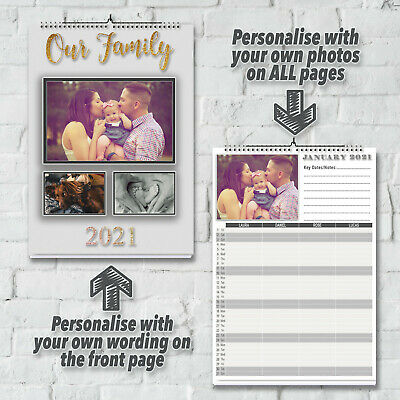 Personalised 12 Month Calendar With Your Wording, Photos & Family Names 2019 A3